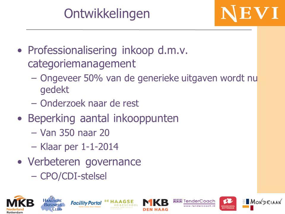 HET KENNISNETWERK VOOR INKOOP EN SUPPLY MANAGEMENT Ontwikkelingen Professionalisering inkoop d.m.v. categoriemanagement –Ongeveer 50% van de generieke