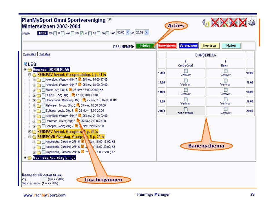 29 www.PlanMySport.com Trainings Manager Acties Inschrijvingen Banenschema