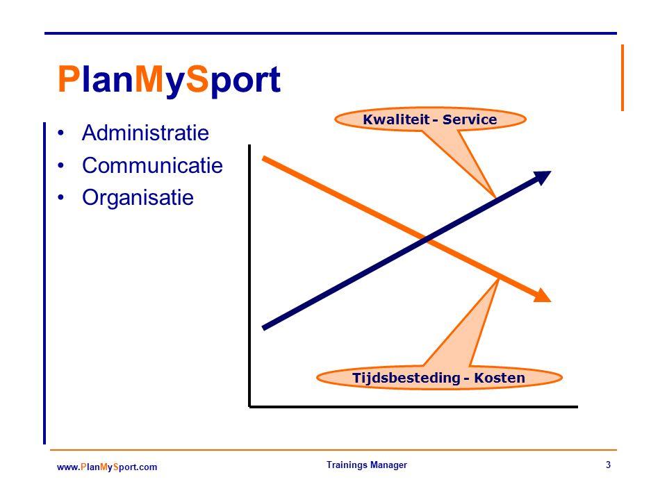 3 www.PlanMySport.com Trainings Manager PlanMySport Administratie Communicatie Organisatie Tijdsbesteding - Kosten Kwaliteit - Service