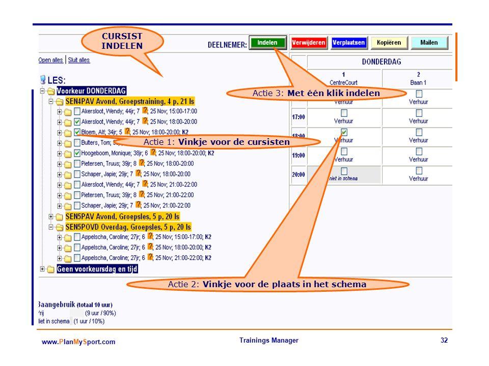 32 www.PlanMySport.com Trainings Manager Actie 1: Vinkje voor de cursisten CURSIST INDELEN Actie 2: Vinkje voor de plaats in het schema Actie 3: Met één klik indelen