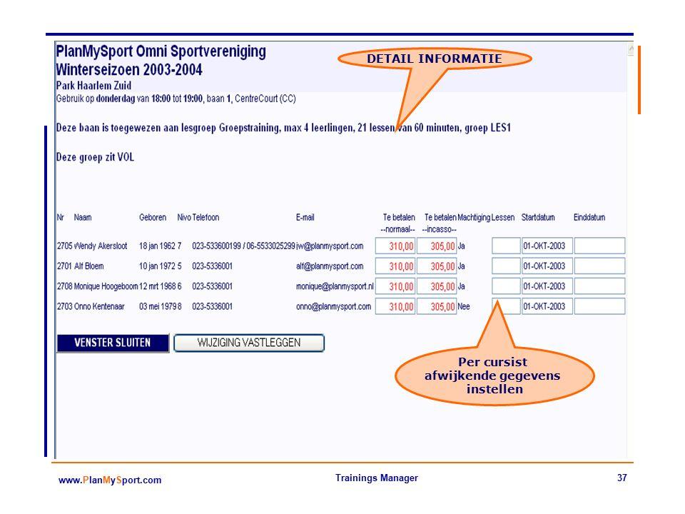 37 www.PlanMySport.com Trainings Manager DETAIL INFORMATIE Per cursist afwijkende gegevens instellen