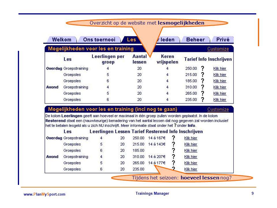 9 www.PlanMySport.com Trainings Manager Overzicht op de website met lesmogelijkheden Tijdens het seizoen: hoeveel lessen nog