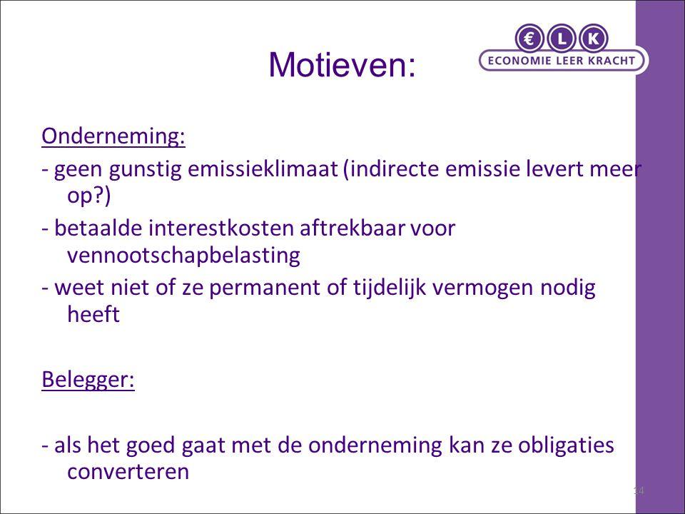 14 Motieven: Onderneming: - geen gunstig emissieklimaat (indirecte emissie levert meer op?) - betaalde interestkosten aftrekbaar voor vennootschapbela