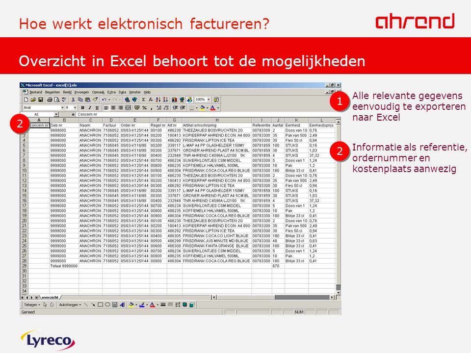 Overzicht in Excel behoort tot de mogelijkheden Hoe werkt elektronisch factureren.