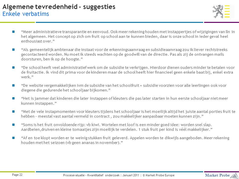 Title | Date | © Market Probe Page 22 Market Probe Procesevaluatie – Kwantitatief onderzoek | Januari 2011 | © Market Probe Europe Algemene tevredenheid - suggesties Enkele verbatims Meer administratieve transparantie en eenvoud.
