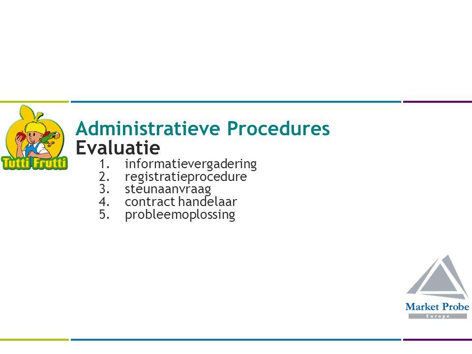 Administratieve Procedures Evaluatie 1.informatievergadering 2.registratieprocedure 3.steunaanvraag 4.contract handelaar 5.probleemoplossing