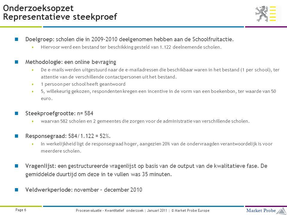 Title | Date | © Market Probe Page 6 Market Probe Procesevaluatie – Kwantitatief onderzoek | Januari 2011 | © Market Probe Europe Onderzoeksopzet Representatieve steekproef Doelgroep: scholen die in 2009-2010 deelgenomen hebben aan de Schoolfruitactie.