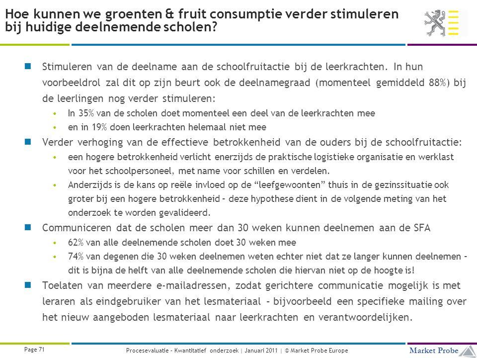 Title | Date | © Market Probe Page 71 Market Probe Procesevaluatie – Kwantitatief onderzoek | Januari 2011 | © Market Probe Europe Hoe kunnen we groenten & fruit consumptie verder stimuleren bij huidige deelnemende scholen.