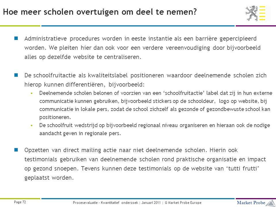 Title | Date | © Market Probe Page 72 Market Probe Procesevaluatie – Kwantitatief onderzoek | Januari 2011 | © Market Probe Europe Hoe meer scholen overtuigen om deel te nemen.