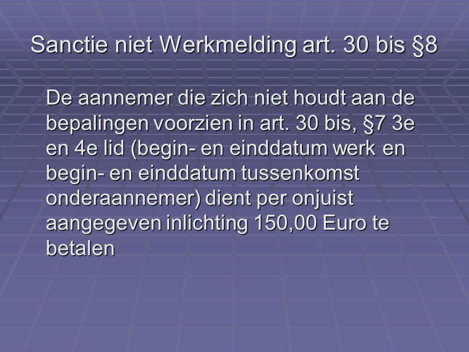 Sanctie niet Werkmelding art.