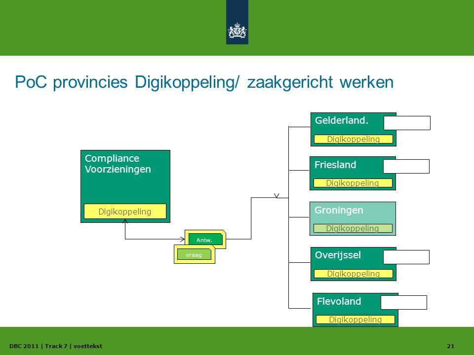 PoC provincies Digikoppeling/ zaakgericht werken DBC 2011 | Track 7 | voettekst21 Compliance Voorzieningen Digikoppeling Overijssel Digikoppeling Antw