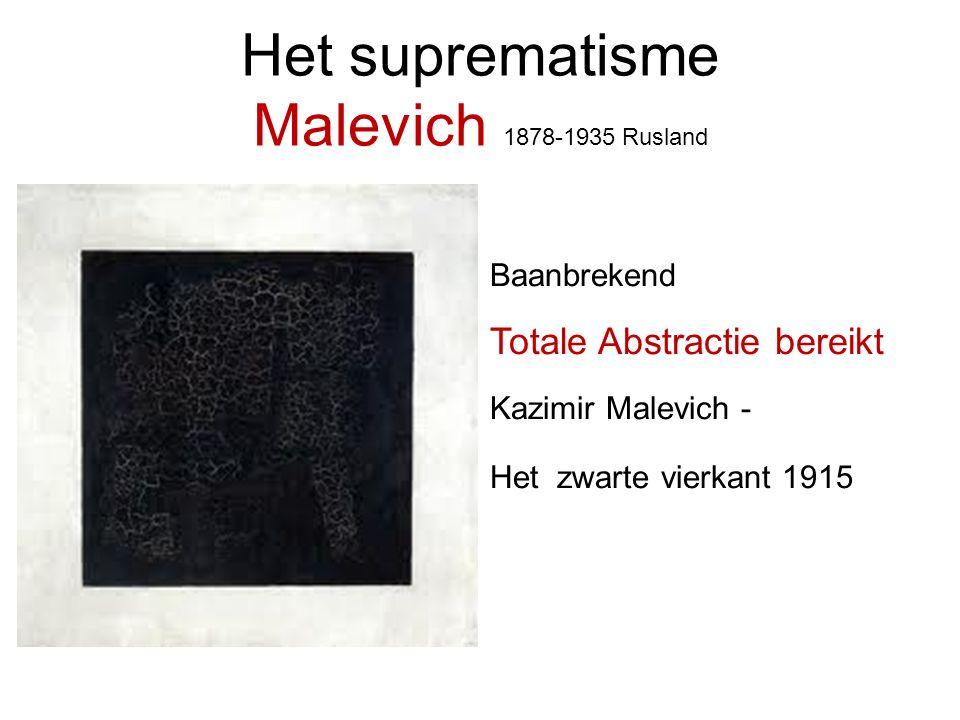 Het suprematisme Malevich 1878-1935 Rusland Baanbrekend Totale Abstractie bereikt Kazimir Malevich - Het zwarte vierkant 1915