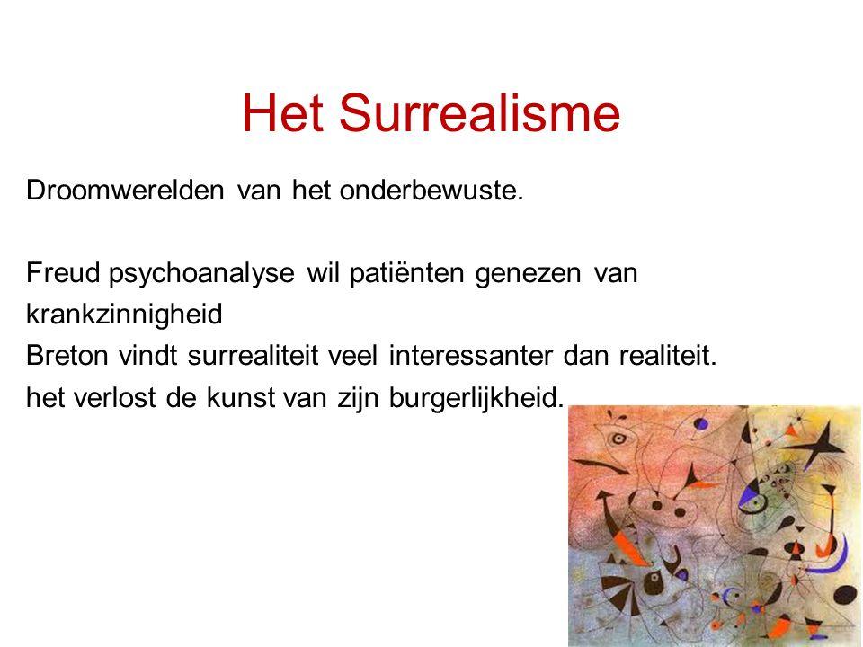 Het Surrealisme Droomwerelden van het onderbewuste. Freud psychoanalyse wil patiënten genezen van krankzinnigheid Breton vindt surrealiteit veel inter