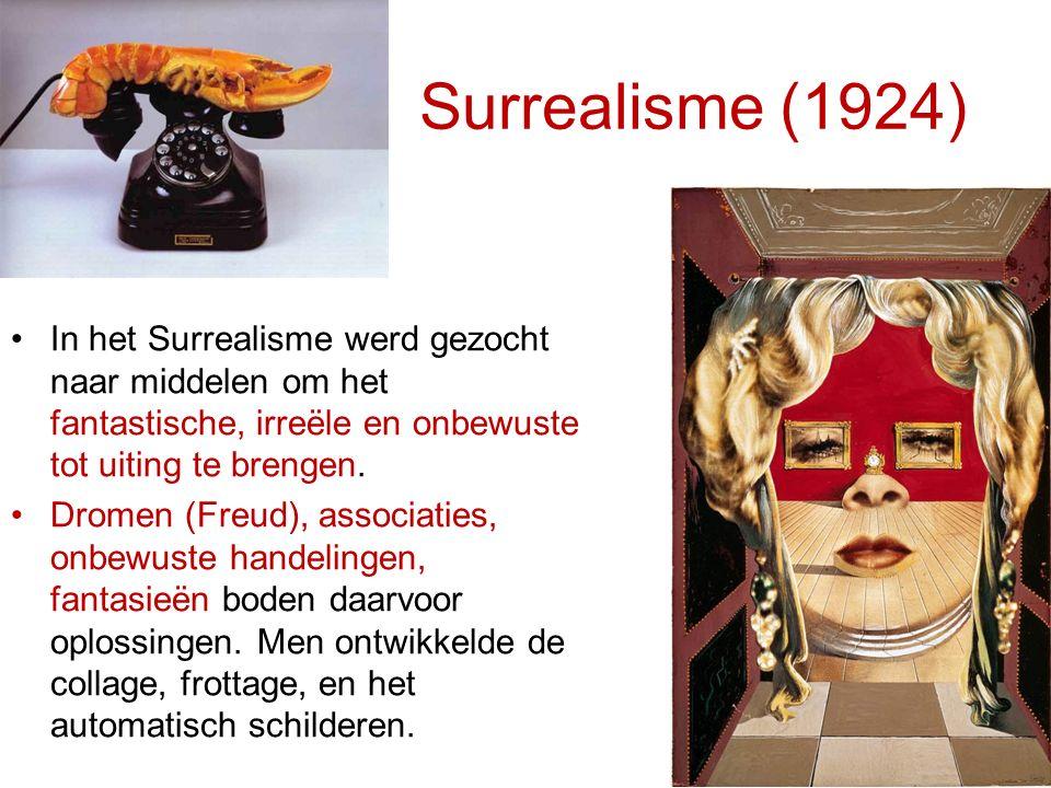 Surrealisme (1924) In het Surrealisme werd gezocht naar middelen om het fantastische, irreële en onbewuste tot uiting te brengen. Dromen (Freud), asso
