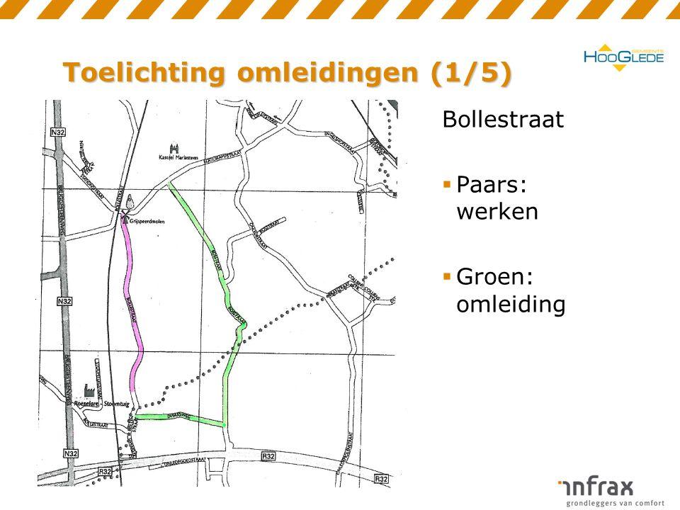 Toelichting omleidingen (2/5) Stationsstraat (noordkant)  Paars: werken  Groen: omleiding (enkelrichting)