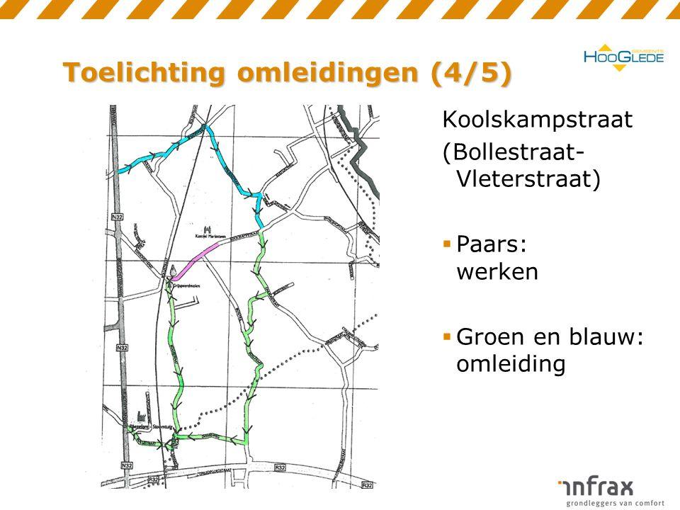 Toelichting omleidingen (4/5) Koolskampstraat (Bollestraat- Vleterstraat)  Paars: werken  Groen en blauw: omleiding
