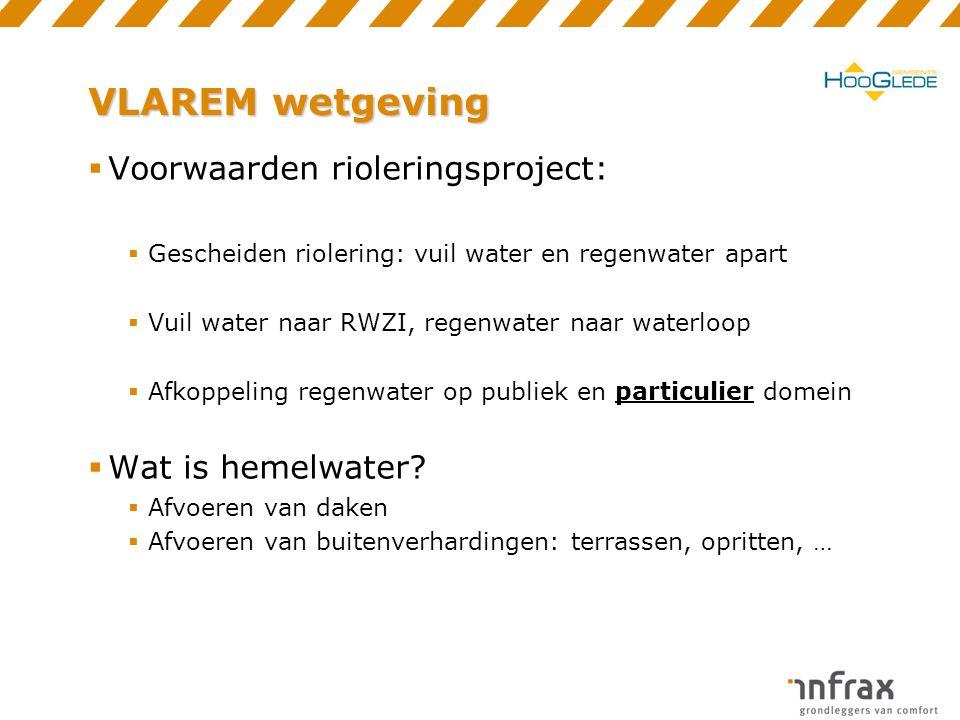 VLAREM wetgeving  Voorwaarden rioleringsproject:  Gescheiden riolering: vuil water en regenwater apart  Vuil water naar RWZI, regenwater naar waterloop  Afkoppeling regenwater op publiek en particulier domein  Wat is hemelwater.