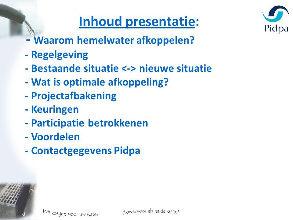Inhoud presentatie: - Waarom hemelwater afkoppelen.