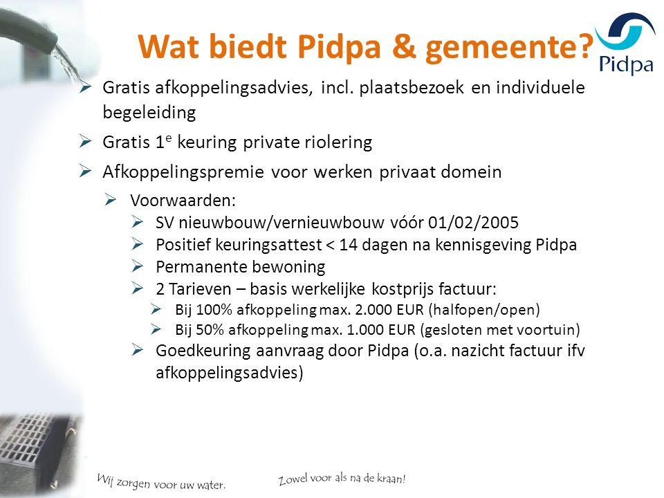 Wat biedt Pidpa & gemeente.  Gratis afkoppelingsadvies, incl.