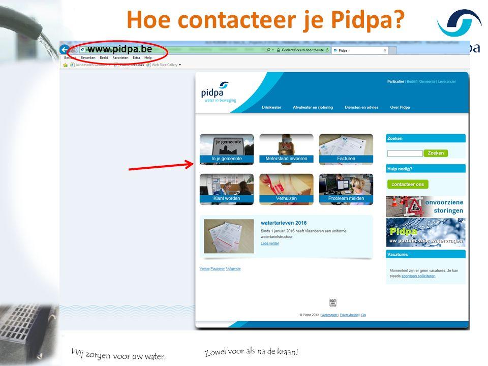 Hoe contacteer je Pidpa? www.pidpa.be