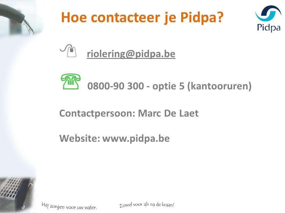 Hoe contacteer je Pidpa.