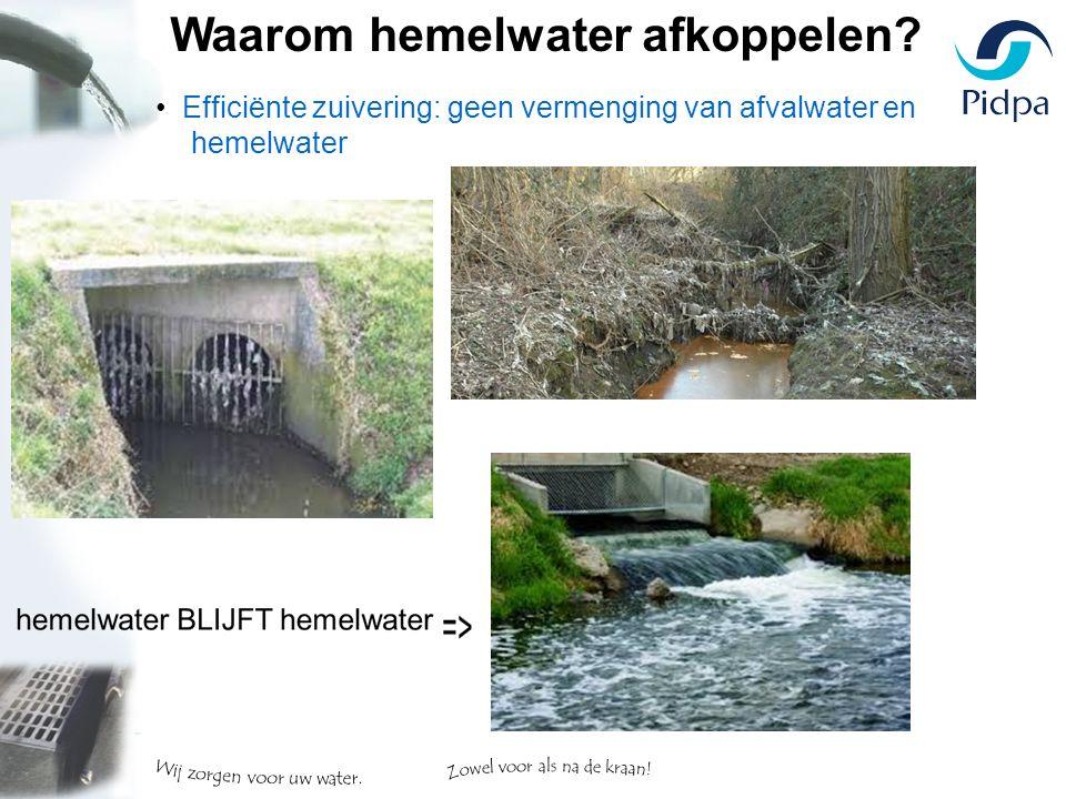 Efficiënte zuivering: geen vermenging van afvalwater en hemelwater Waarom hemelwater afkoppelen?