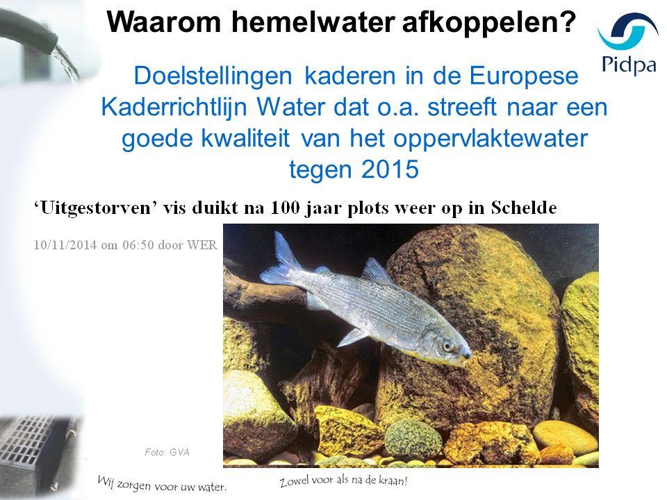 Doelstellingen kaderen in de Europese Kaderrichtlijn Water dat o.a.