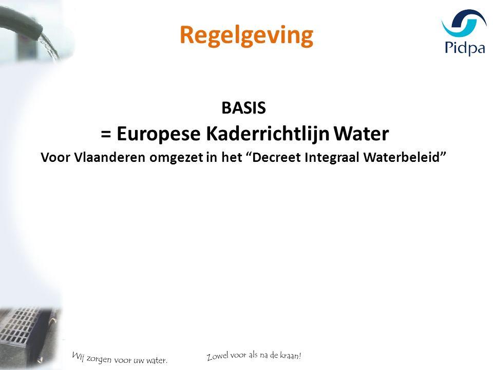 Regelgeving BASIS = Europese Kaderrichtlijn Water Voor Vlaanderen omgezet in het Decreet Integraal Waterbeleid