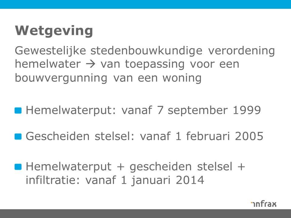 Wetgeving Gewestelijke stedenbouwkundige verordening hemelwater  van toepassing voor een bouwvergunning van een woning Hemelwaterput: vanaf 7 september 1999 Gescheiden stelsel: vanaf 1 februari 2005 Hemelwaterput + gescheiden stelsel + infiltratie: vanaf 1 januari 2014