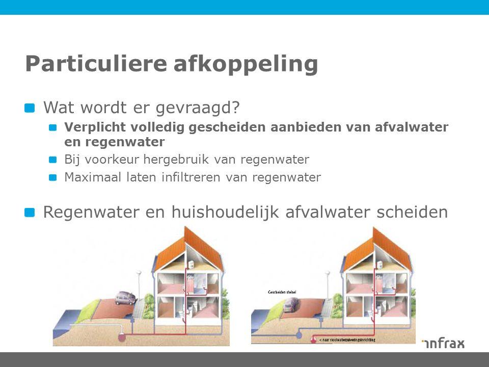 Particuliere afkoppeling Wat wordt er gevraagd? Verplicht volledig gescheiden aanbieden van afvalwater en regenwater Bij voorkeur hergebruik van regen
