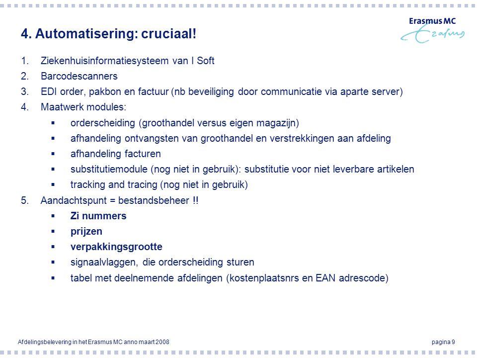 Afdelingsbelevering in het Erasmus MC anno maart 2008pagina 9 4.