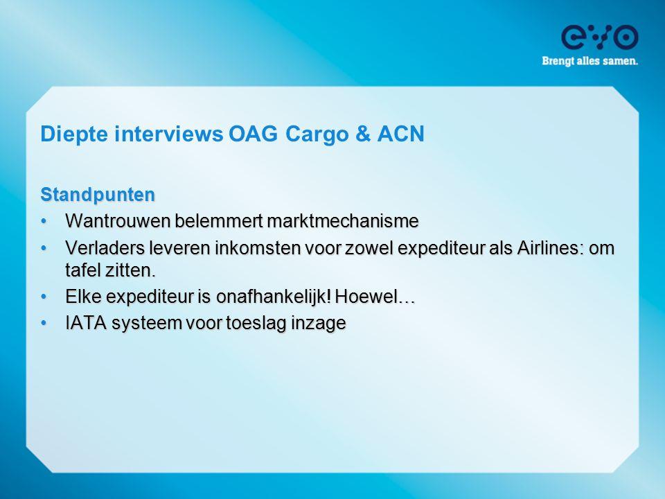 Diepte interviews OAG Cargo & ACNStandpunten Wantrouwen belemmert marktmechanisme Wantrouwen belemmert marktmechanisme Verladers leveren inkomsten voo
