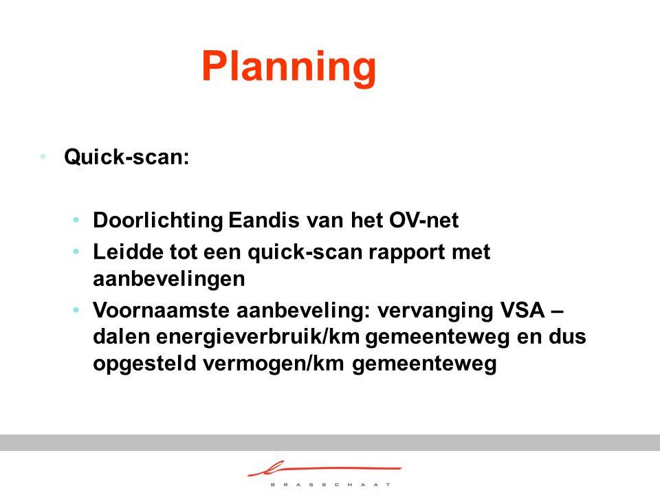 Planning Quick-scan: Doorlichting Eandis van het OV-net Leidde tot een quick-scan rapport met aanbevelingen Voornaamste aanbeveling: vervanging VSA – dalen energieverbruik/km gemeenteweg en dus opgesteld vermogen/km gemeenteweg