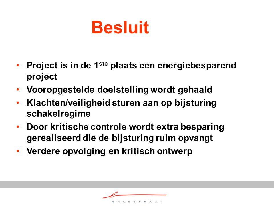 Besluit Project is in de 1 ste plaats een energiebesparend project Vooropgestelde doelstelling wordt gehaald Klachten/veiligheid sturen aan op bijstur
