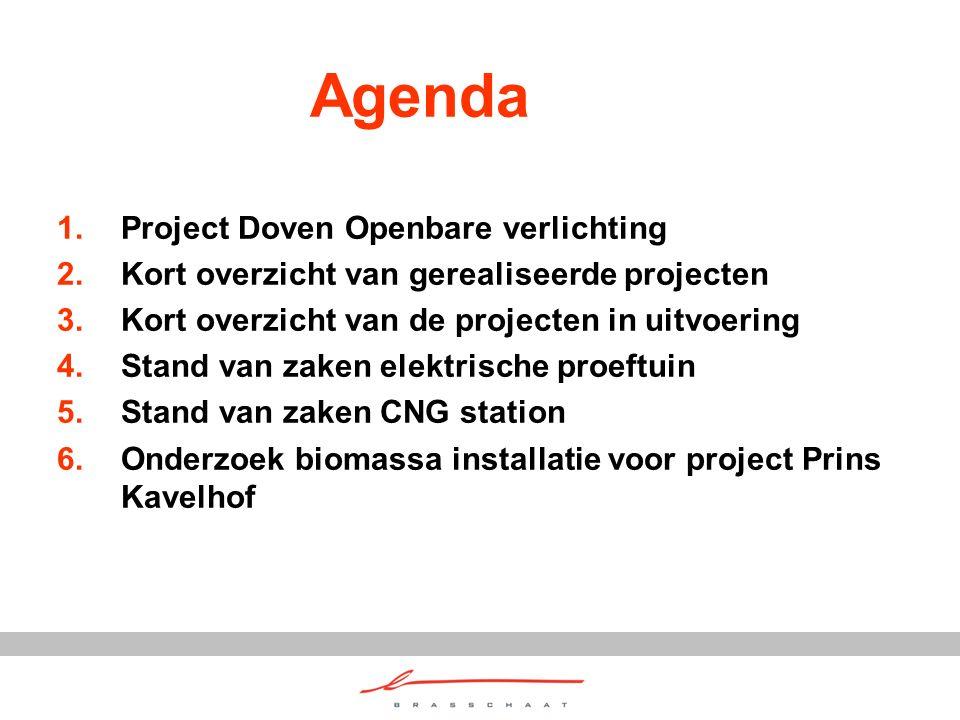 Agenda 1.Project Doven Openbare verlichting 2.Kort overzicht van gerealiseerde projecten 3.Kort overzicht van de projecten in uitvoering 4.Stand van z