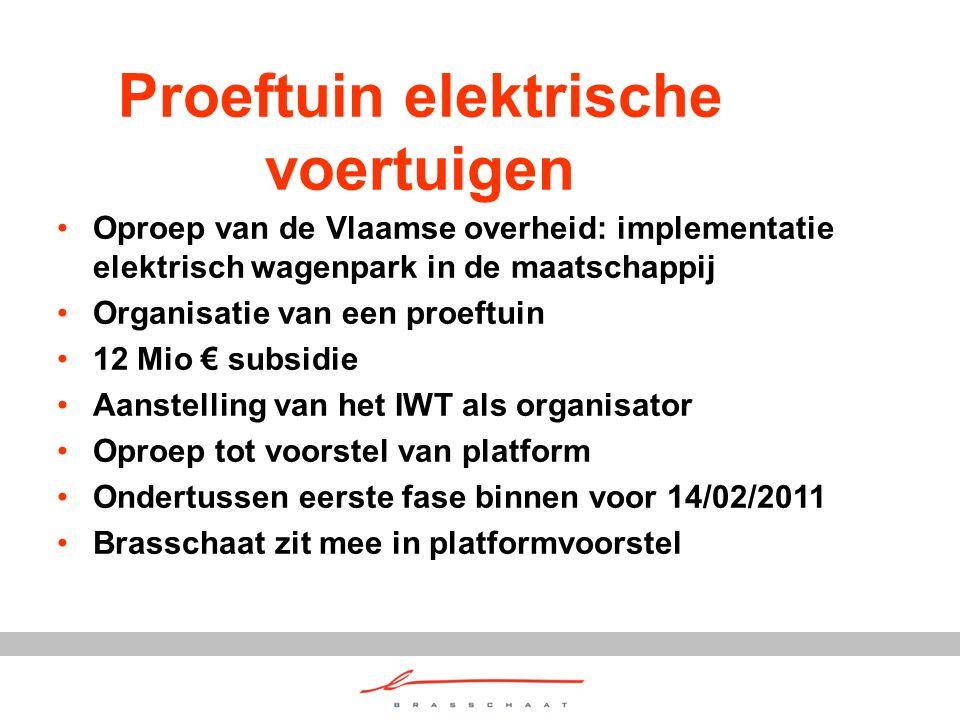 Proeftuin elektrische voertuigen Oproep van de Vlaamse overheid: implementatie elektrisch wagenpark in de maatschappij Organisatie van een proeftuin 12 Mio € subsidie Aanstelling van het IWT als organisator Oproep tot voorstel van platform Ondertussen eerste fase binnen voor 14/02/2011 Brasschaat zit mee in platformvoorstel