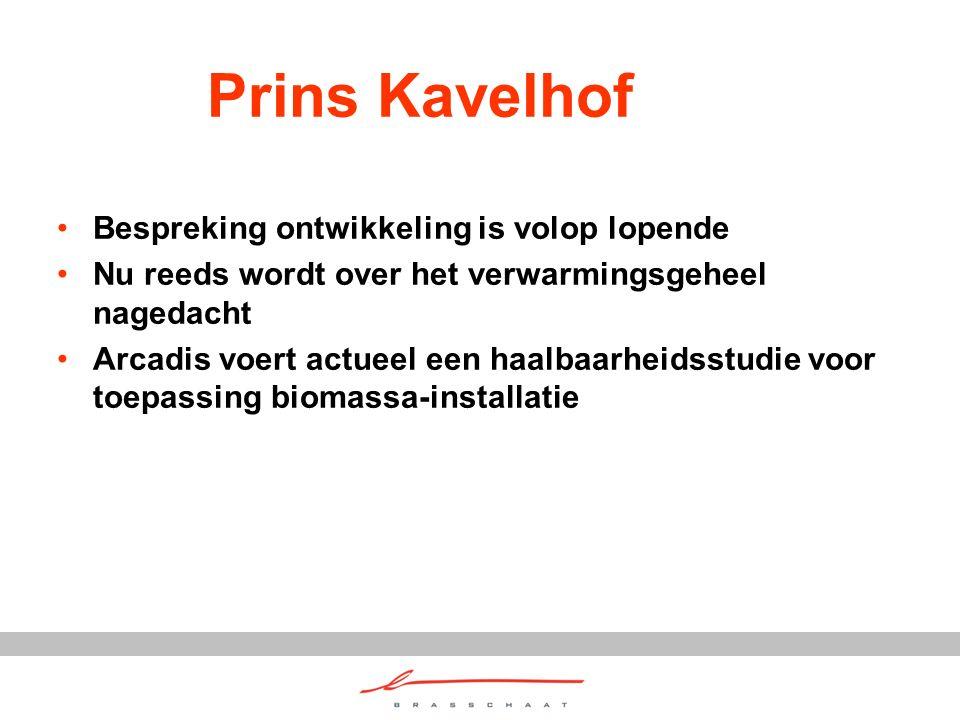 Prins Kavelhof Bespreking ontwikkeling is volop lopende Nu reeds wordt over het verwarmingsgeheel nagedacht Arcadis voert actueel een haalbaarheidsstudie voor toepassing biomassa-installatie