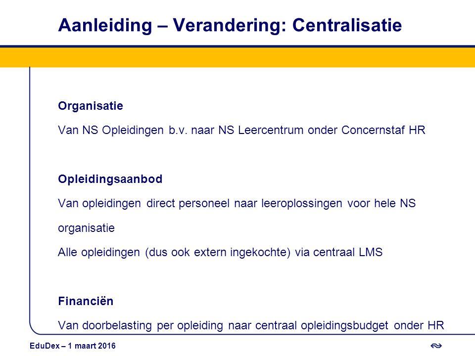 Aanleiding – Verandering: Centralisatie Organisatie Van NS Opleidingen b.v. naar NS Leercentrum onder Concernstaf HR Opleidingsaanbod Van opleidingen