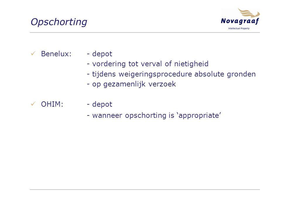 Opschorting Benelux: - depot - vordering tot verval of nietigheid - tijdens weigeringsprocedure absolute gronden - op gezamenlijk verzoek OHIM:- depot - wanneer opschorting is 'appropriate'