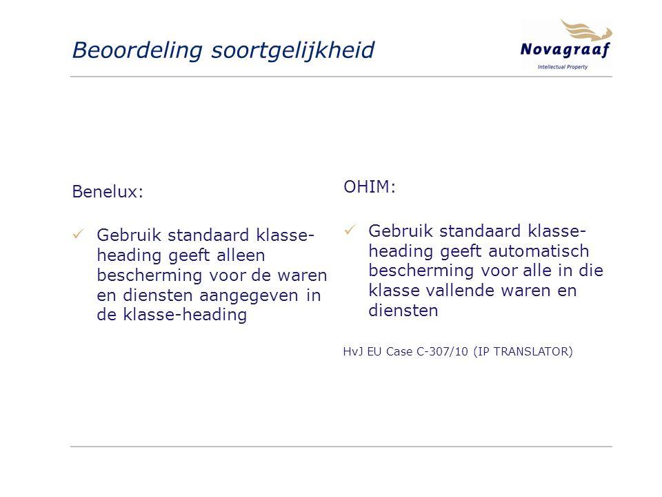 Beoordeling soortgelijkheid Benelux: Gebruik standaard klasse- heading geeft alleen bescherming voor de waren en diensten aangegeven in de klasse-heading OHIM: Gebruik standaard klasse- heading geeft automatisch bescherming voor alle in die klasse vallende waren en diensten HvJ EU Case C-307/10 (IP TRANSLATOR)
