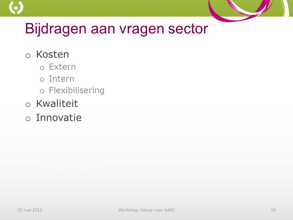 Bijdragen aan vragen sector o Kosten o Extern o Intern o Flexibilisering o Kwaliteit o Innovatie 31 mei 2012Workshop Inkoop voor bdKO19