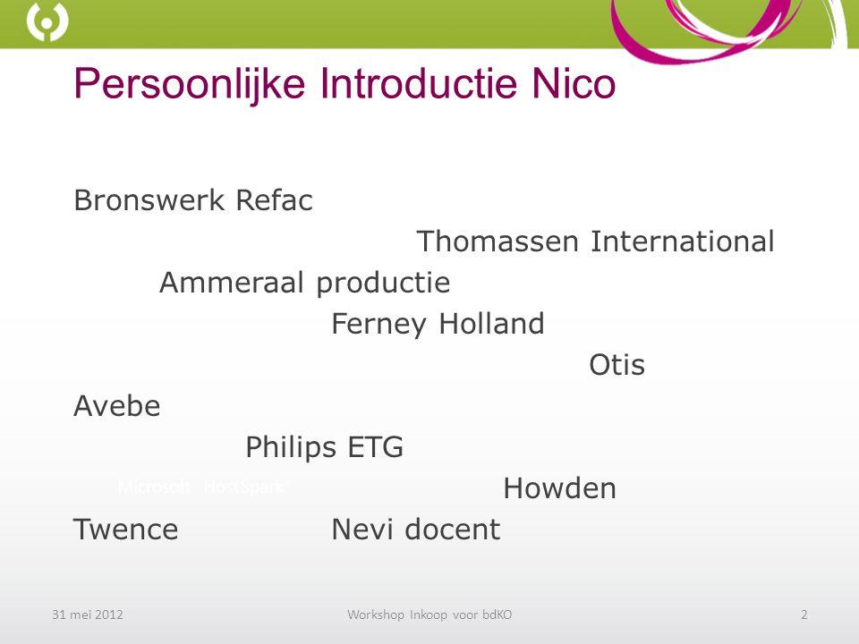 Persoonlijke Introductie Nico Bronswerk Refac Thomassen International Ammeraal productie Ferney Holland Otis Avebe Philips ETG Howden TwenceNevi docent 31 mei 2012Workshop Inkoop voor bdKO2