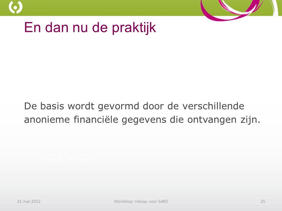 En dan nu de praktijk De basis wordt gevormd door de verschillende anonieme financiële gegevens die ontvangen zijn.