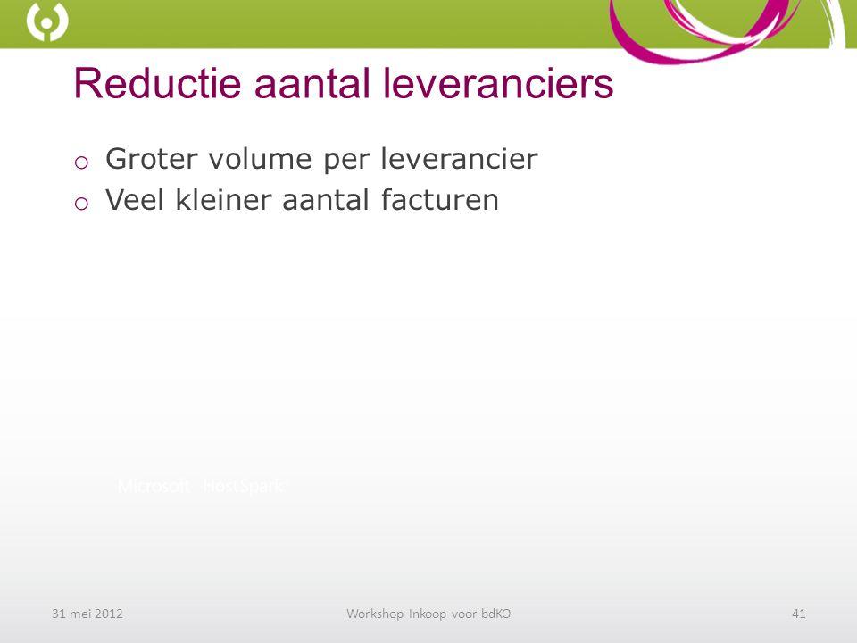 Reductie aantal leveranciers o Groter volume per leverancier o Veel kleiner aantal facturen 31 mei 2012Workshop Inkoop voor bdKO41