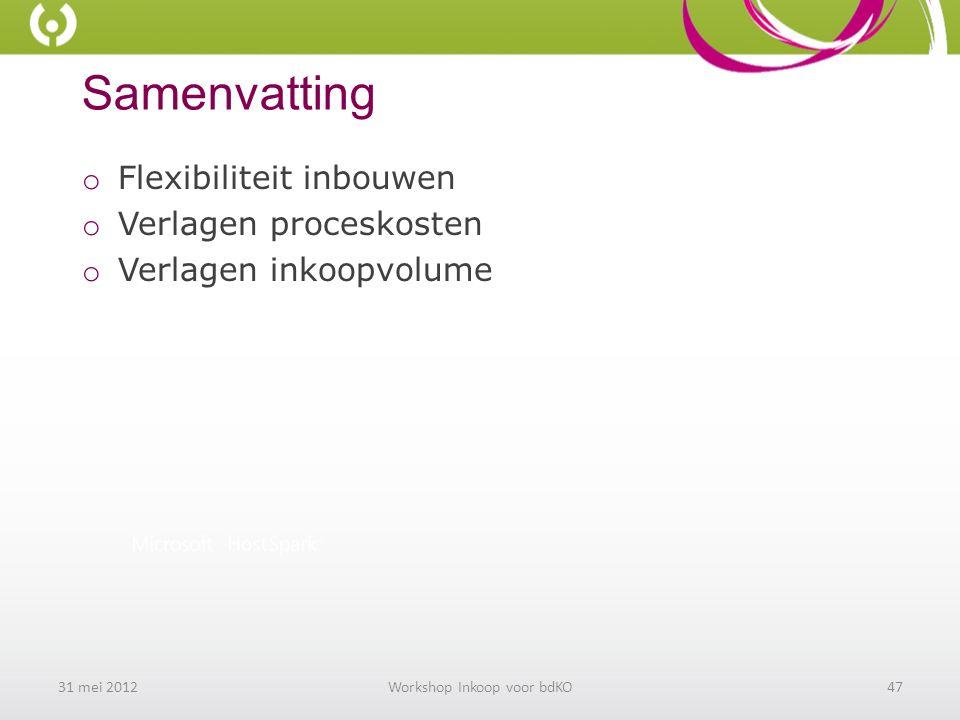 Samenvatting o Flexibiliteit inbouwen o Verlagen proceskosten o Verlagen inkoopvolume 31 mei 2012Workshop Inkoop voor bdKO47