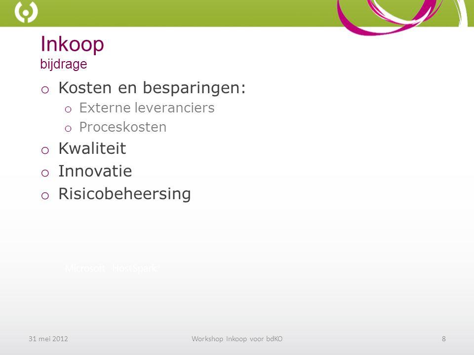 Inkoop bijdrage o Kosten en besparingen: o Externe leveranciers o Proceskosten o Kwaliteit o Innovatie o Risicobeheersing 31 mei 2012Workshop Inkoop voor bdKO8