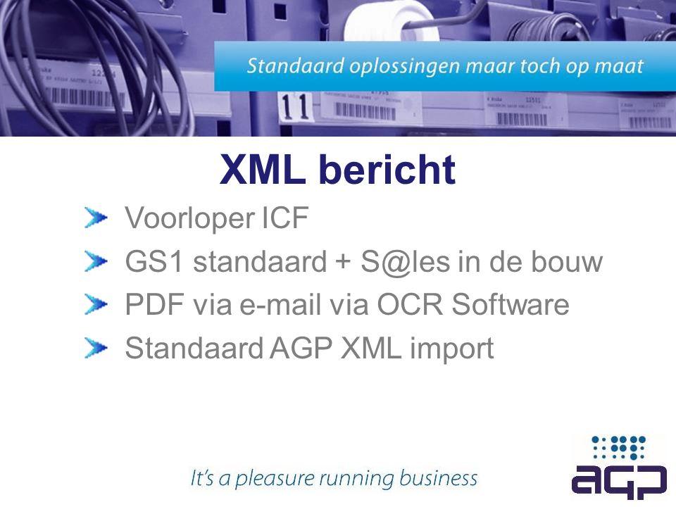XML bericht Voorloper ICF GS1 standaard + S@les in de bouw PDF via e-mail via OCR Software Standaard AGP XML import