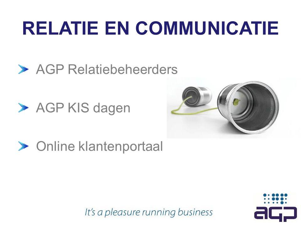RELATIE EN COMMUNICATIE AGP Relatiebeheerders AGP KIS dagen Online klantenportaal