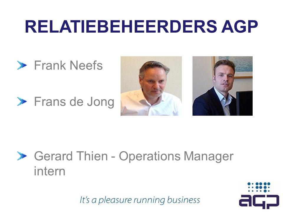 RELATIEBEHEERDERS AGP Frank Neefs Frans de Jong Gerard Thien - Operations Manager intern