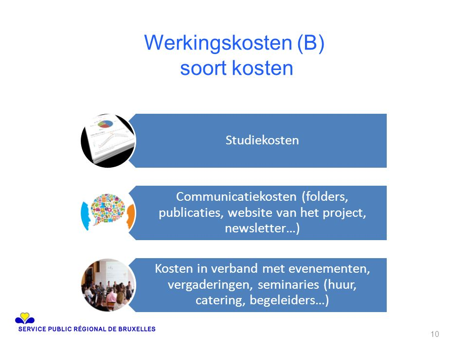 Werkingskosten (B) soort kosten Studiekosten Communicatiekosten (folders, publicaties, website van het project, newsletter…) Kosten in verband met eve